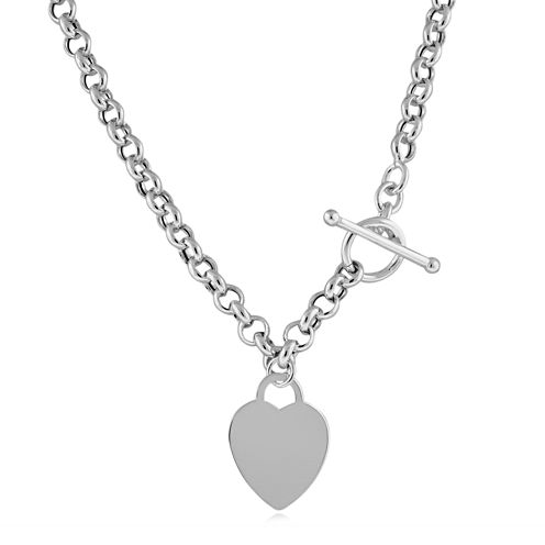 Made in Italy Sterling Silver Heart Tag Toggle Necklace