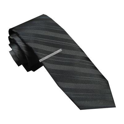 JF J. Ferrar® Textured Tonal Tie and Tie Bar Set - Skinny