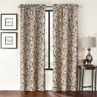 Saratoga 2-Pack Flocked Rod-Pocket Curtain Panels