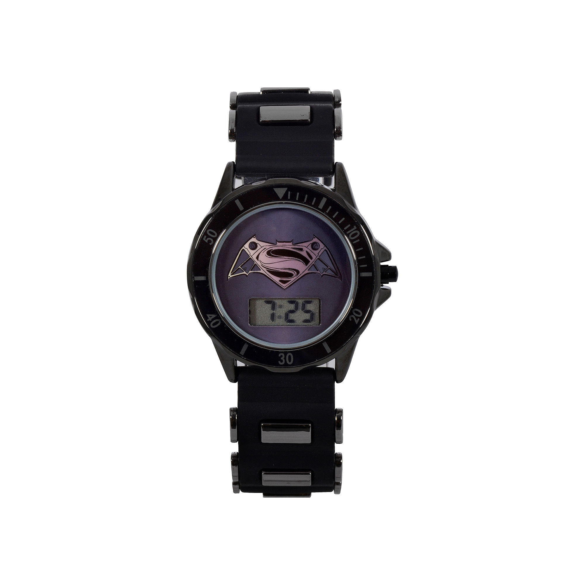 DC Comics Batman Vs. Superman Lcd Dial Black Case Black Silcone Strap Watch With Plastic Bullets