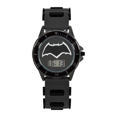 DC Comics® Batman vs. Superman LCD Dial Black Silicone Strap Watch