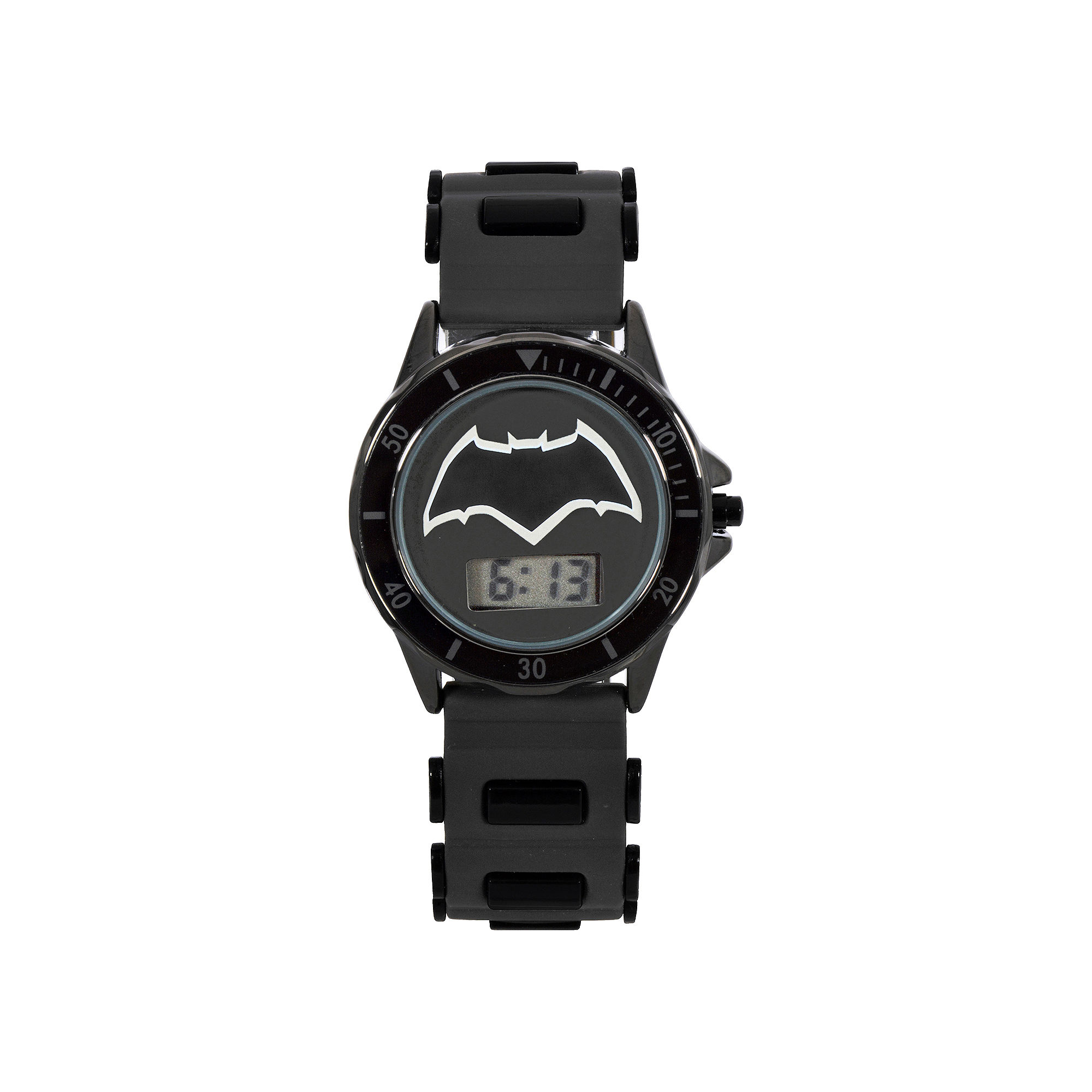 DC Comics Batman vs. Superman LCD Dial Black Silicone Strap Watch