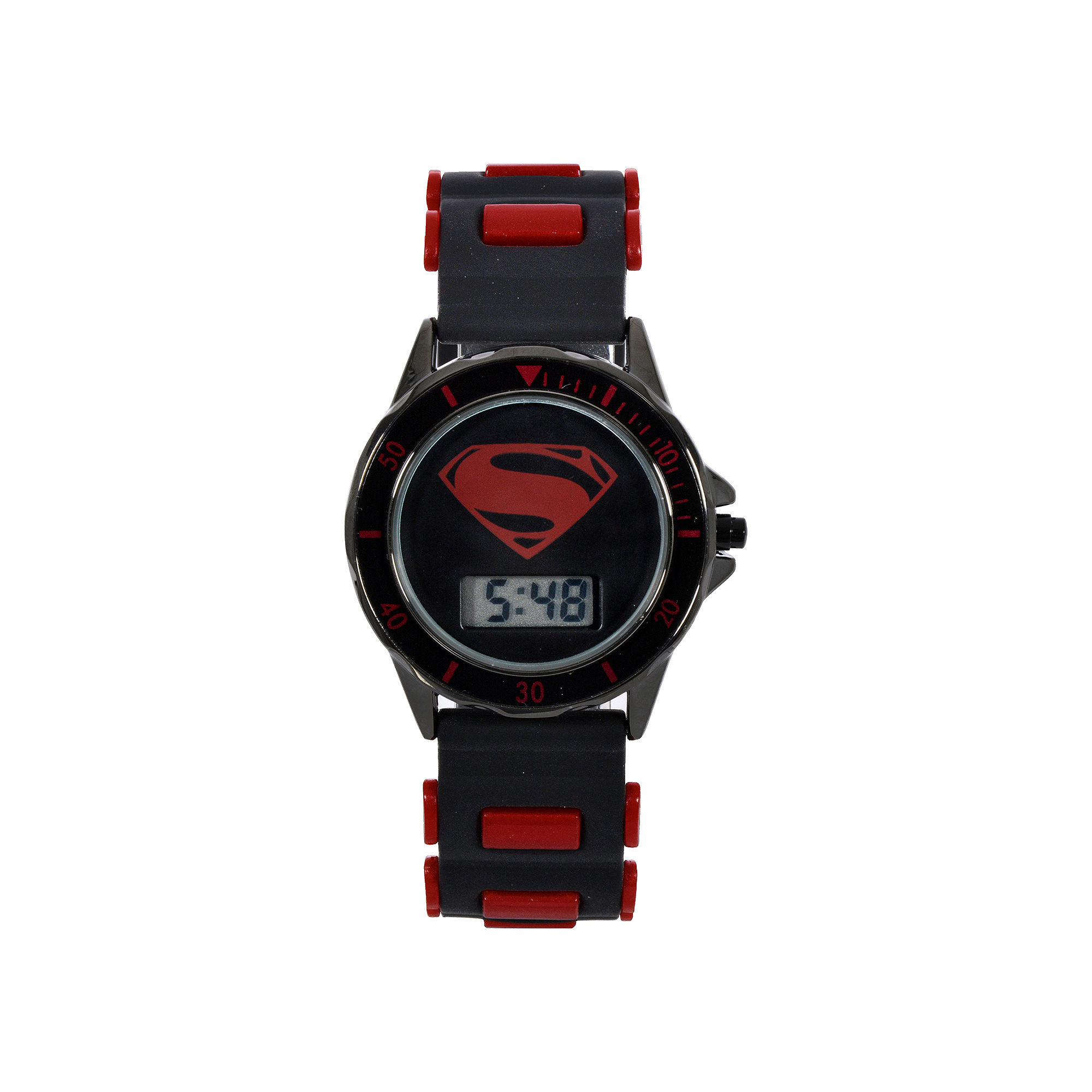 DC Comics Batman vs. Superman LCD Dial Black and Red Silicone Strap Watch