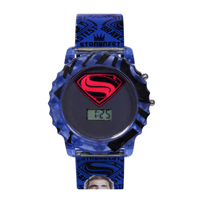 DC Comics® Batman vs. Superman LCD Rotating Flash Dial with Superman Strap Watch