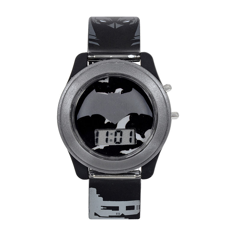 DC Comics Batman vs. Superman LCD Flash Dial with Printed Gray Batman Watch
