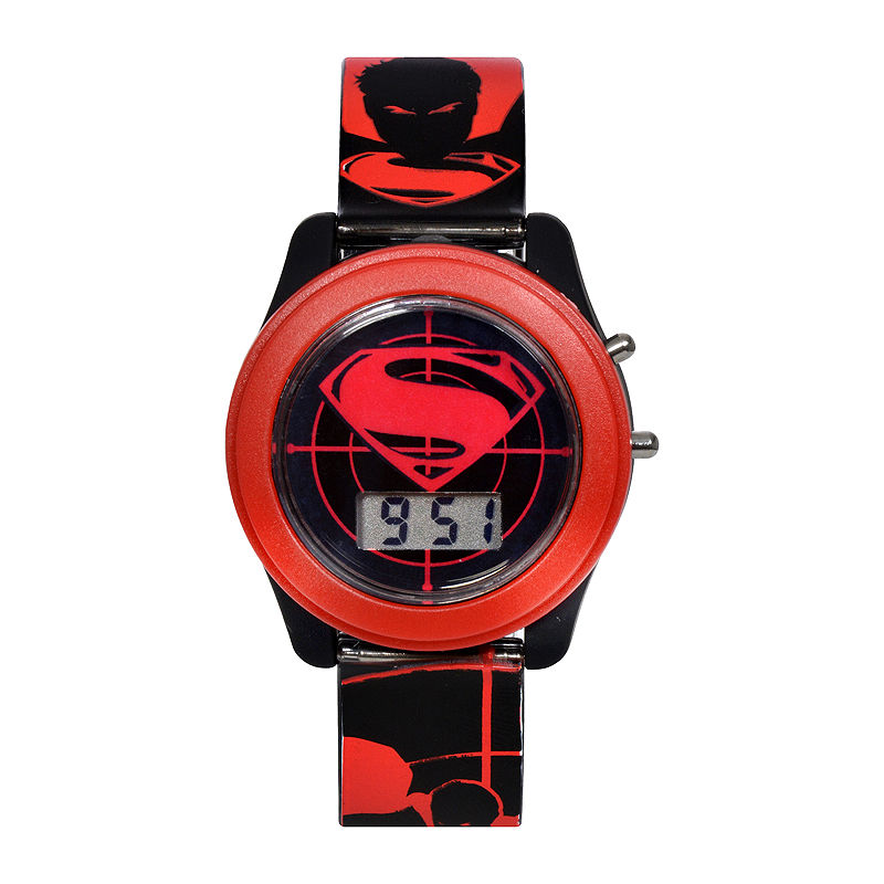 DC Comics Batman vs. Superman LCD Flash Dial with Printed Red Superman Watch