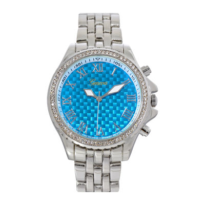 Geneva Womens Blue Checkerboard Dial Bracelet Watch