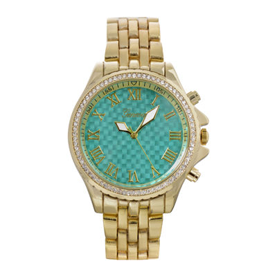Geneva Womens Turquoise Checkerboard Dial Bracelet Watch