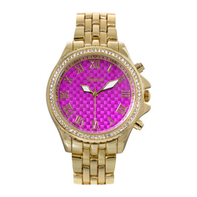 Geneva Womens Lavender Checkerboard Dial Bracelet Watch
