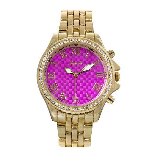 Geneva Womens Lavender Checkerboard Dial Bracelet Watch