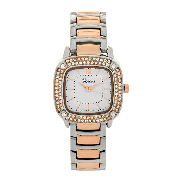 Geneva Womens Square-Face Two-Tone Bracelet Watch