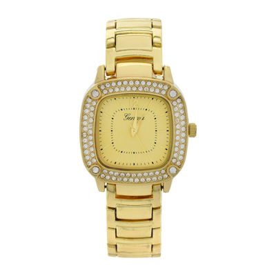 Geneva Womens Square-Face Gold-Tone Bracelet Watch