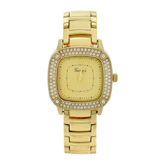 Geneva Womens Square-Face Gold-Tone Bracelet Watch