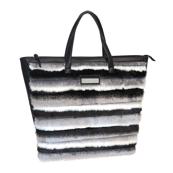 Adrienne Landau Striped Faux Fur Shopper Tote