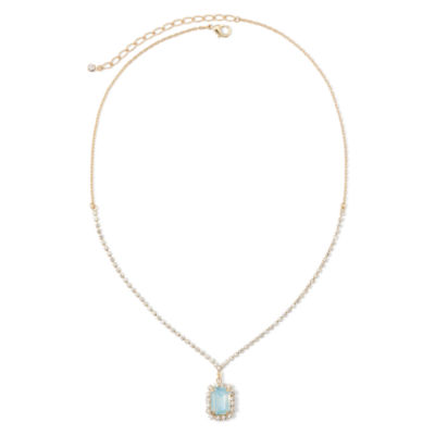 Vieste® Crystal and Mint Stone Gold-Tone Square Drop Pendant Necklace