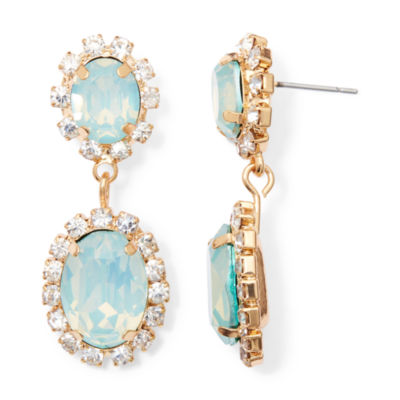 Vieste® Mint Stone Gold-Tone Double-Drop Earrings