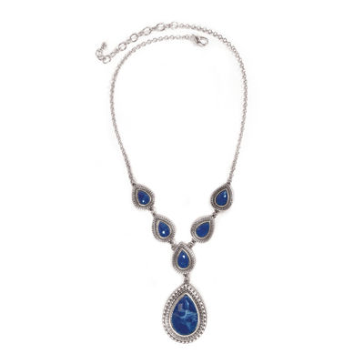 Studio By Carol Dauplaise Silver-Tone Dark Blue Pear Y-Necklace