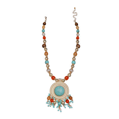 Mixit™ Gold-Tone Simulated Turquoise Metal Pendant Necklace