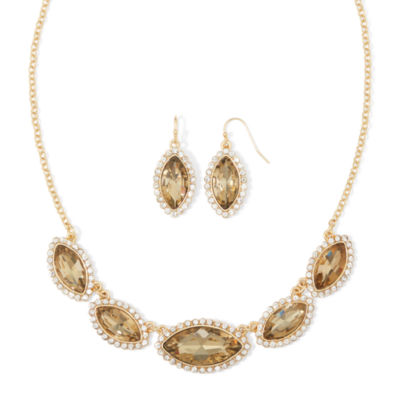 Monet® Brown Gold-Tone Collar Necklace and Earring Set