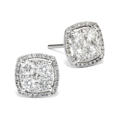LIMITED QUANTITIES 1/2 CT. T.W. Diamond 14K White Gold Square Earrings