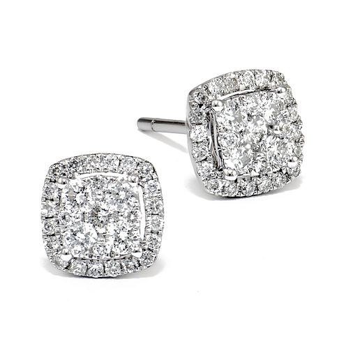 LIMITED QUANTITIES 1 CT. T.W. Diamond 14K White Gold Square Earrings