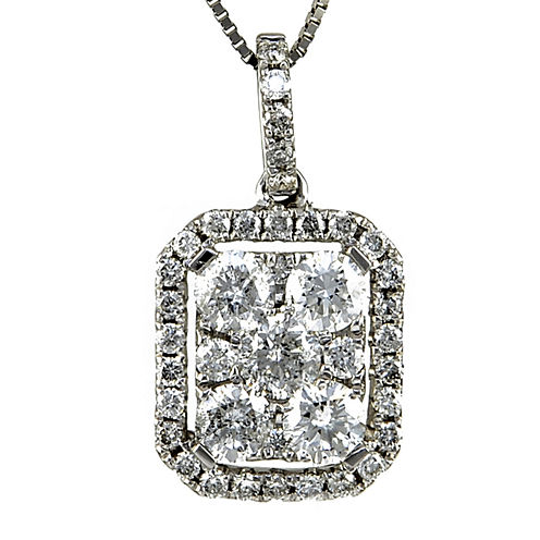 LIMITED QUANTITIES 7/8 CT. T.W. Diamond 14K White Gold Square Pendant Necklace