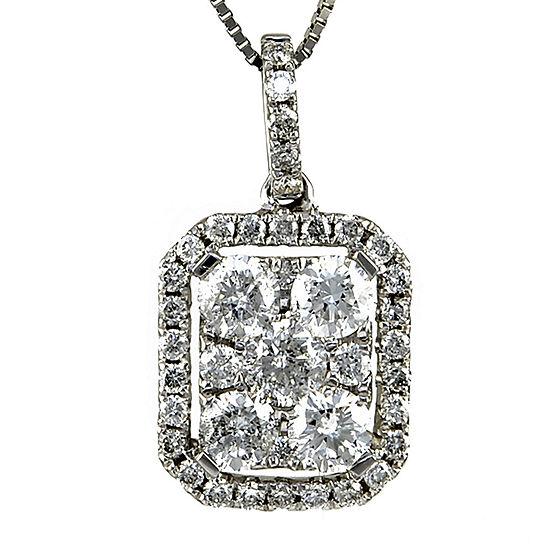 LIMITED QUANTITIES 7/8 CT. T.W. Diamond 14K White Gold Square Pendant Necklace