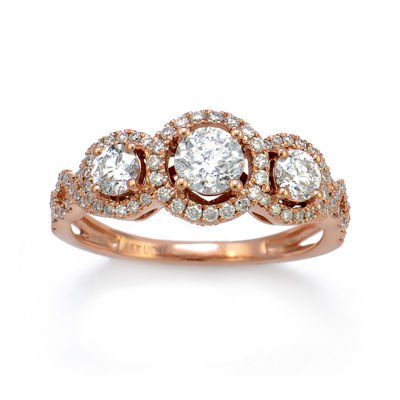 LIMITED QUANTITIES 1-1/7 CT. T.W. Diamond 14K Rose Gold 3-Stone Ring