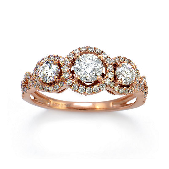 Limited Quantities 1 1 7 Ct Tw Diamond 14k Rose Gold 3 Stone Ring