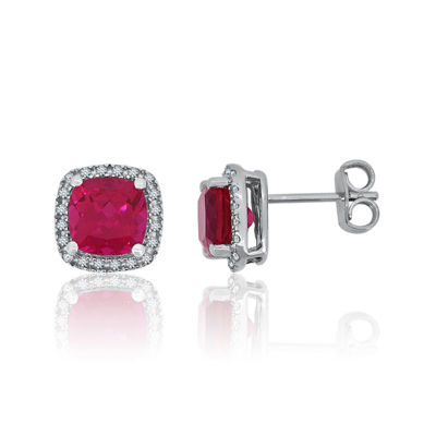 Lab-Created Ruby & Lab-Created White Sapphire Sterling Silver Halo Stud Earrings