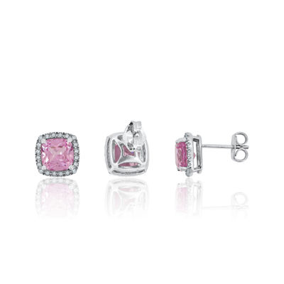 Lab-Created Pink & White Sapphire Sterling Silver Halo Stud Earrings