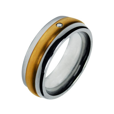 Mens 8mm Cobalt with 10K Yellow Gold Inlay Wedding Band