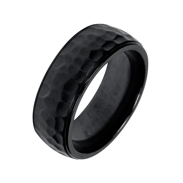 Mens 8mm Black Hammered Titanium Wedding Band