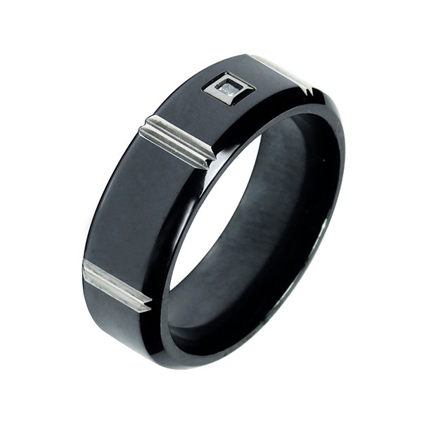 Mens Diamond Accent 7mm Black Titanium Wedding Band