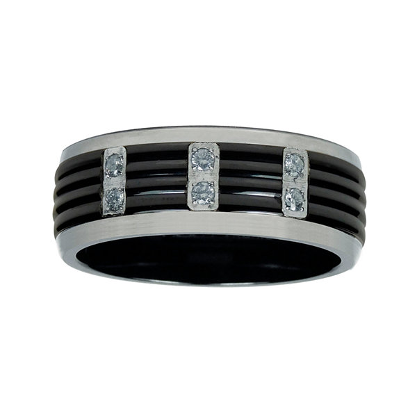 Mens 1/8 C.T. TW. Diamond Black Titanium Wedding Band