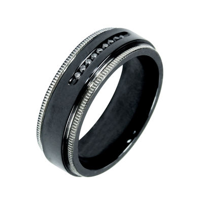 Mens 1/10 C.T. TW. Diamond Black Titanium Wedding Band