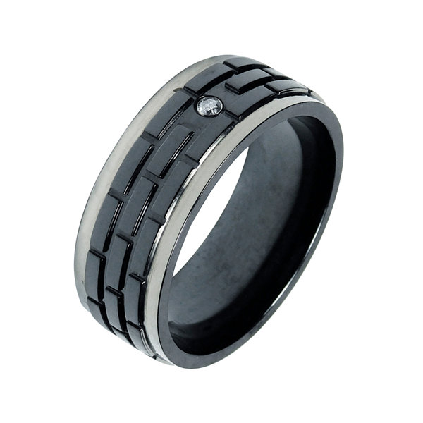 Jcpenney Gift Registry Wedding: Mens 8mm Diamond Accent Black Titanium Wedding Band