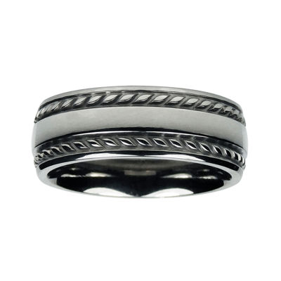 Mens 8mm Titanium Rope-Border Wedding Band