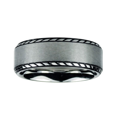 Mens 8mm Titanium Rope Border Wedding Band