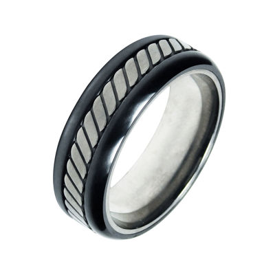 Mens 8mm Two-Tone Titanium Wedding Band