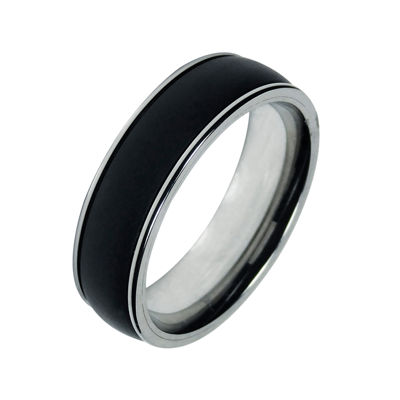 Mens 7mm Black Titanium and Stainless Steel Wedding Band