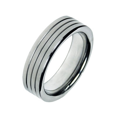 Mens 7mm Groove Cobalt Wedding Band