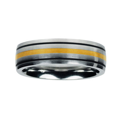Mens Cobalt and 10K Yellow Gold Inlay Wedding Band