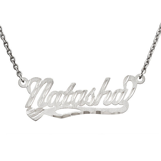 Personalized 10x31mm Diamond Cut Scroll Name Necklace