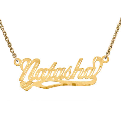 Personalized 10x31mm Diamond-Cut Scroll Name Necklace