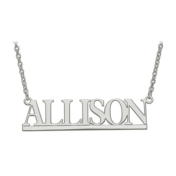 Personalized Sterling Silver 46x12mm Bamberg Font Name Necklace