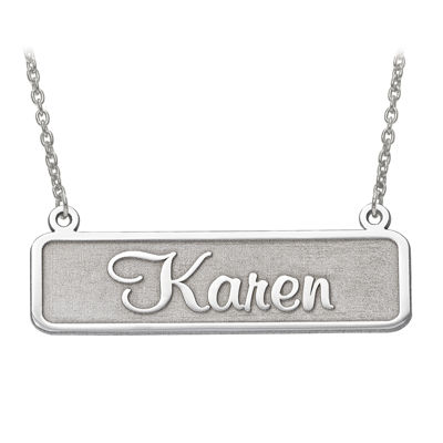 Personalized 34x12mm Memento Font Name Plate Necklace