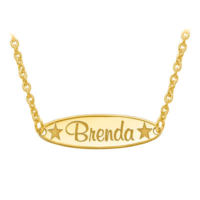 Personalized 6x21mm Oval Star Name Plate Necklace