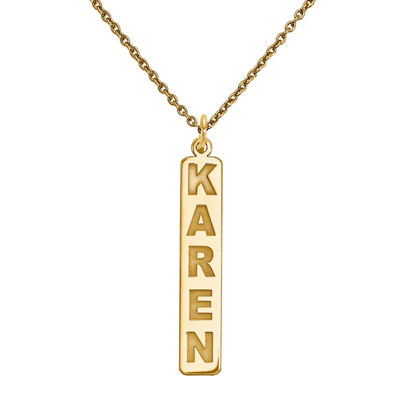 Personalized 40x6mm Vertical Nameplate Necklace