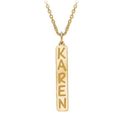 Personalized 35x6mm Vertical Nameplate Necklace